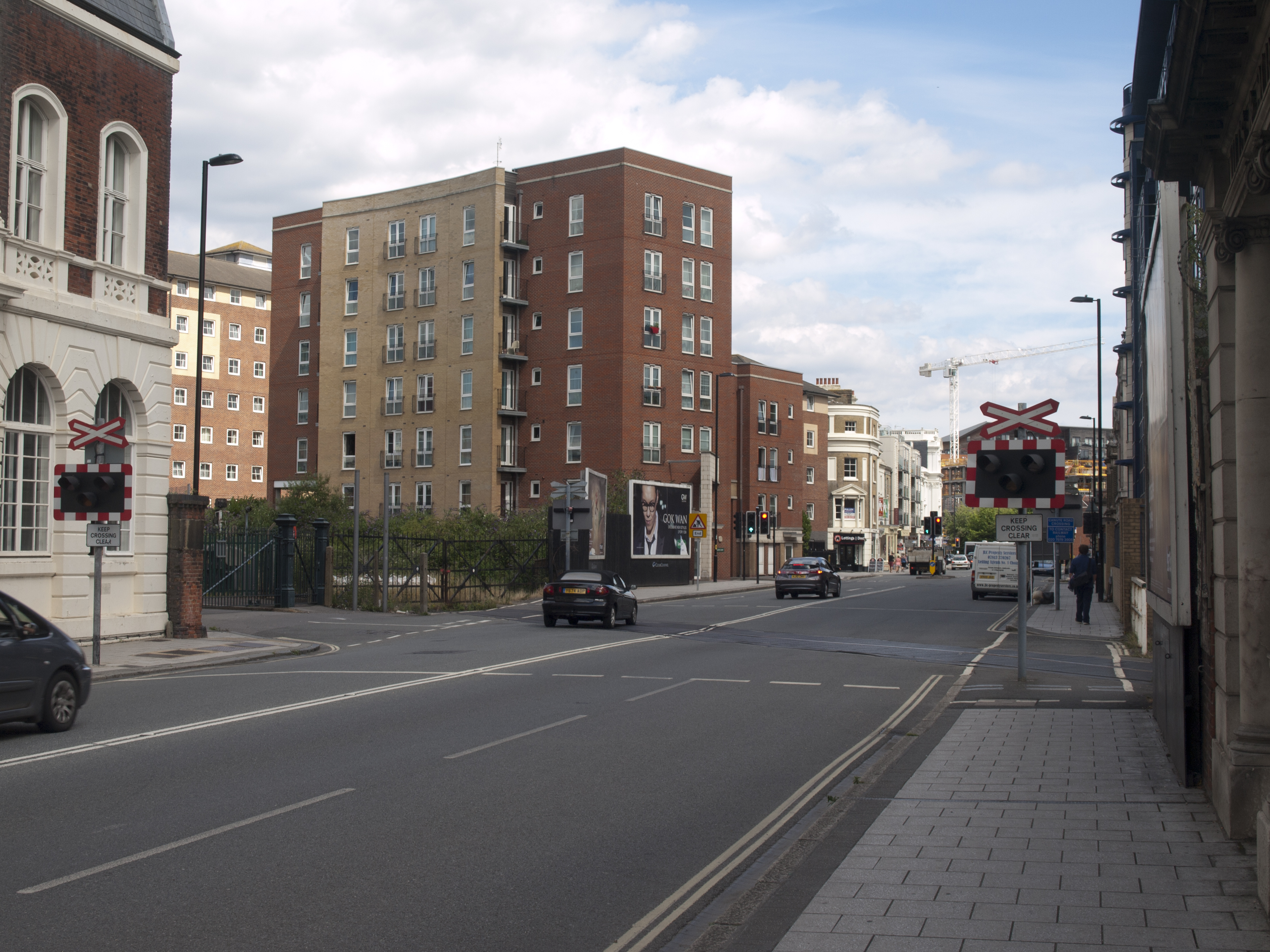 Canute Road adjacent the Old Docks with buildings old and new.