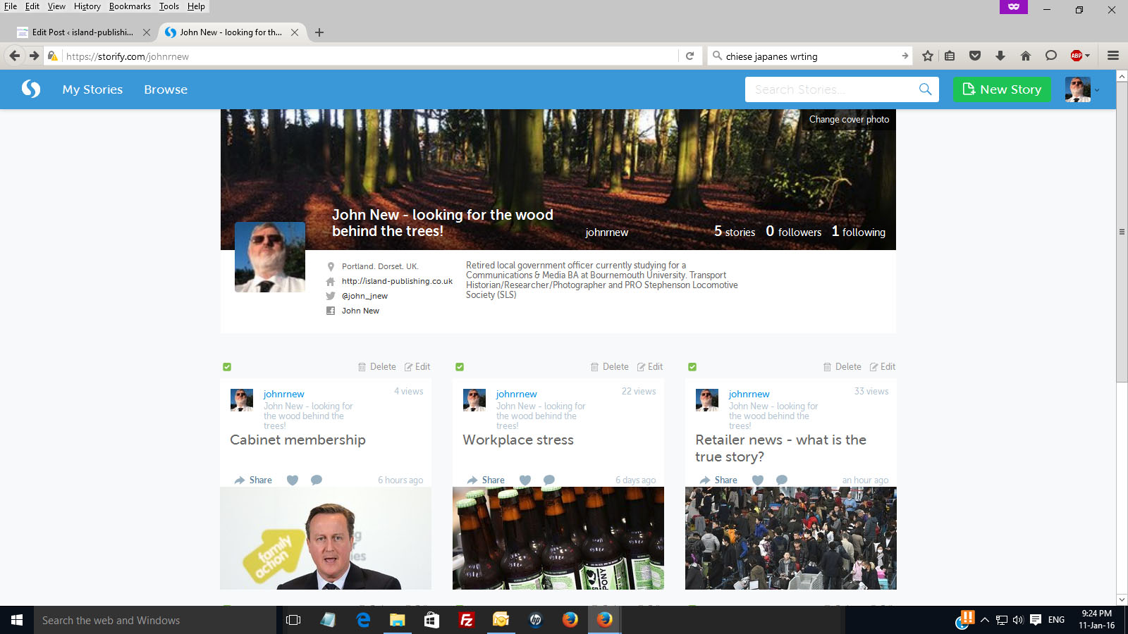Using Storify - grab of my profile page