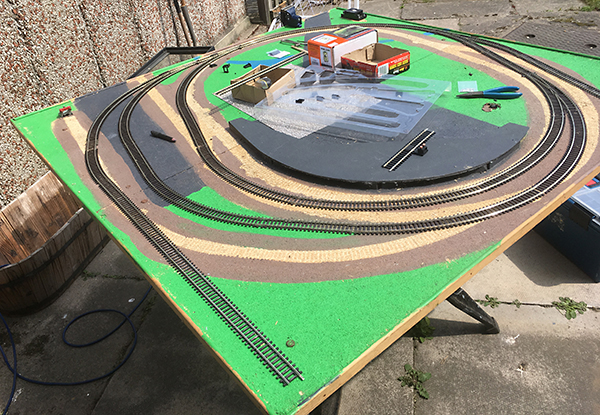 Layout with track back down
